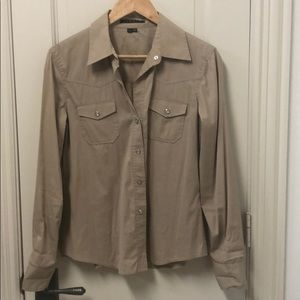 Theory large button down in tan with pearl snaps